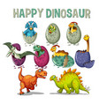 happy dinosaur with dinosaurs hatching eggs vector image vector image