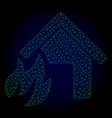 house fire disaster polygonal frame mesh vector image