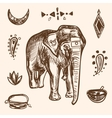Indian Hand Drawn Hamsa with Elephant Arabi vector image vector image
