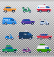 isolated collection different cars like vector image