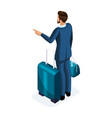 isometrics a handsome young man on a business trip vector image