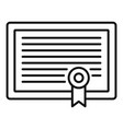 learning certificate icon outline style vector image vector image