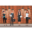 man and woman worker standing with paper vector image vector image