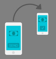 mobile money transfer flat design style vector image vector image