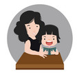 mother reading with daughter vector image