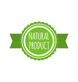 natural product badge round bio food logo vegan vector image vector image