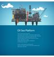 Offshore Sea Oil Platform Brochure Design vector image vector image