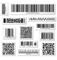Packaging labels bar and QR codes on white vector image vector image