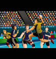 people playing handball in the competition vector image