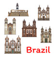 popular travel landmark of brazil thin line icon vector image vector image