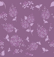 seamless lilac flowers pattern on purple vector image vector image
