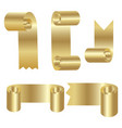 set of golden scroll ribbons for your text vector image vector image