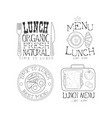 set of monochrome logos for lunch menu vector image vector image