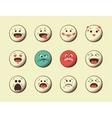 set retro emoji emoticons vector image