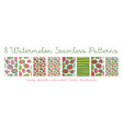 set seamless watermelon patterns vector image