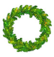 shiny fir tree wreath for christmas vector image
