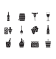 Silhouette Wine Icons vector image vector image