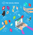 social media in modern mobile devices vector image vector image