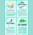 sweet summer sea adventure poster with text set vector image vector image