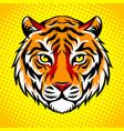 tiger head pop art style vector image vector image