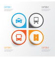 transport icons set collection of cab railway vector image