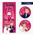 wedding card and stickers vector image vector image