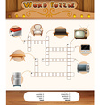 Word puzzle game with objects in the house vector image vector image
