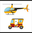 yellow taxi helicopter bus air vector image vector image