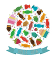 Dolce vita Collection of cute colorful sweet vector image