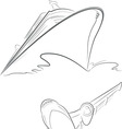 Cruise Ship Airplane Outline vector image