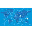 Airplanes traces over the world map vector image vector image