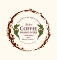 badge coffee label premium splashed vector image vector image