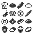 bakery and pastry bread icons set vector image