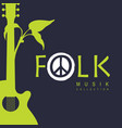 banner for folk music with guitar and twig vector image