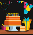 birthday cake with gifts and candles vector image vector image