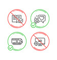 bus tour approved documentation and heart icons vector image vector image