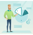 Businessman pointing at pie chart vector image