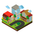 city scene with buildings and road in 3d design vector image vector image