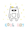 cool boy cute hand drawn postcard with funny cat vector image vector image
