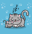 cute sleepy kitten with a mouse vector image