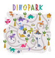 dino park labyrinth or maze game with funny vector image