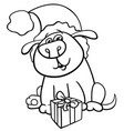 dog with christmas gift coloring book vector image vector image