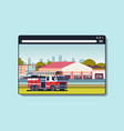 firefighter truck near building fire station vector image vector image