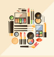 flat cosmetics beauty fashion products dec vector image vector image