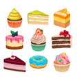 flat set of various sweet desserts vector image
