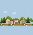 Forrest wood houses facades background