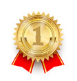 gold medal 1st place badge symbol victory in vector image vector image
