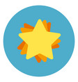 golden star icon on blue round background vector image vector image