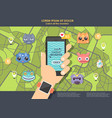 gps game for phone hand holding mobile phone vector image vector image