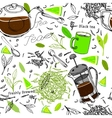 Hand drawn seamless tea pattern vector image vector image